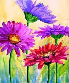 colorful flowers, oil paintings, floral paintings, purple flowers, flower paintings