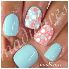 manicure orange, polka dots, candy apples, nail arts, instagram nails, cute nails for spring, spring nails colors, polka dot nails, orange and gold nails