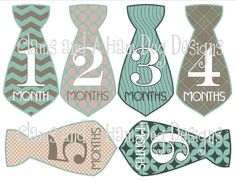 Monthly onesie stickers- boys aqua blue and gray patterned neckties- Perfect Baby Shower Gift! $8.50, via Etsy.