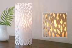 luminary cut out surrounds for jars with candles