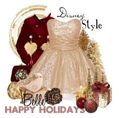 Belle - 16 Festive Holiday Party Outfits Inspired by Disney Characters #DisneyHolidays #Fashion #BeautyandtheBeast #DisneyPrincesses #Princess