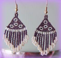 Purple and White Bead Earrings. $13.00, via Etsy.