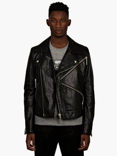 Kenzo Men's Black Leather Biker Jacket