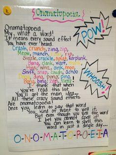 Onomonopoeia Anchor Chart anchor charts, languag art, cooperative learning, poetry unit, readers theater, teacher, teaching writing, bright colors, color poem