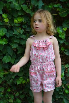 Peachy Romper with neck frill http://www.felicitysewingpatterns.com/product/new-spring-pattern-release-peachy-dress-playsuit-girls-dress-and-romper-sewing-pattern-6-sty