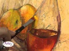 Cómo pintar botellas y otros envases de vidrio en cuadros en acrílico - YouTube