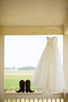 this is perfect... cowgirl boots, wedding dressses, cowboy boots, country weddings, the dress, wedding photos, wedding pictures, front porches, stunning dresses