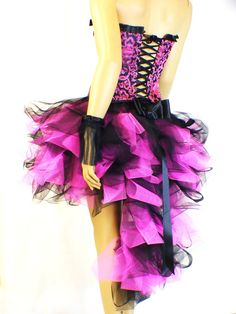 Pink Black Burlesque Skirt with Corset Costume