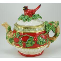 Christmas Tea Pot~Cardinal Santa Teapot