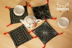 Dark blue sashiko coasters set of 4, traditional japanese embroidery, tribal craft, fabric houseware