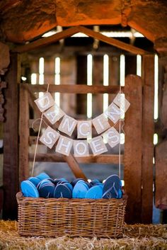 A basket filled with flip flops will be a lifesaver for your dancing guests. Source: Rustic Wedding Chic #reception # basket fill, flip flop