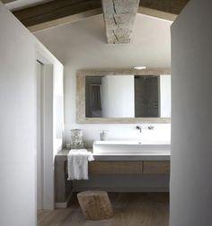 modern rustic bathroom,,,,beam, mirror, sink.....