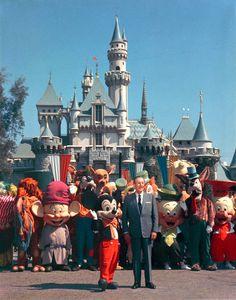 Walt Disney and the Disney Characters at Disneyland Park 1965