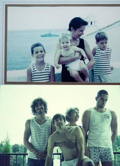 Mom and her three boys decide to take the same photo 20 years later, for their father's birthday present... I love this,