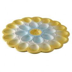 """Spring Flower Egg Platter $34.50  Our Large Egg Plate holds two dozen eggs! Arrives gift boxed. Hand wash only.   Ceramic   12 1/4"""" D   White box"""