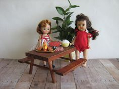Vintage Doll Furniture  Cedar Picnic Table in Play by TheToyBox, $30.00