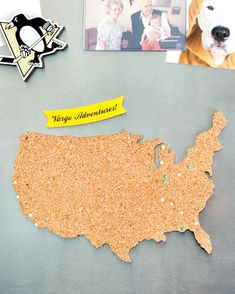 DIY cork board map. Use pins to show where you've traveled, would like to travel, or places you and you loved ones have lived