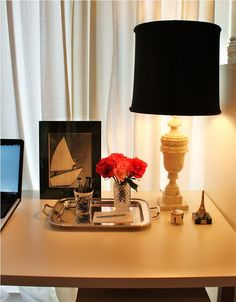 yellow lamp with black shade