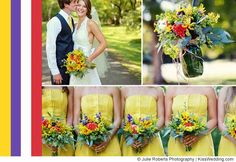 """A lively yellow wedding color combination for fall with hints of bright red and purple.  From """"Ideas For Yellow Wedding Color Schemes""""."""