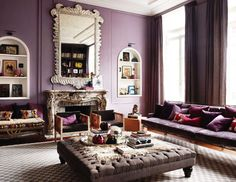 mirror, wall colors, coffee tables, interior, living rooms, elle decor, living room designs, purple rooms, live room