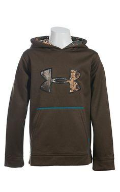 Under Armour Boys' Owl Brown with Camo Logo UA Storm Armour Fleece Caliber Hoodie