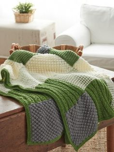 Caron Textured Afghan free knitting pattern  | Yarnspirations