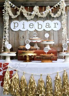{Pie Bar by Shiny Happy Sprinkles}  mixed cream fabric pennant garland and ruffle garland // gold fringe tassel garland