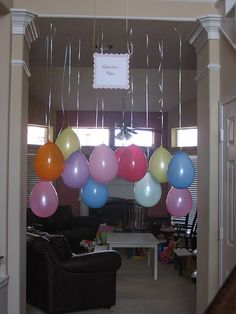 Hanging balloons. What kid doesn't like balloons? Could be fun rainy day game too. For older kids, attach a thumb tack on the top of a ball cap and have them try to pop the balloons with their heads.