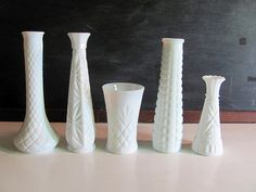 Set of 5 Vintage White Milk Glass Bud Vases by dirtybirdiesvintage, $24.00