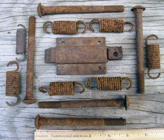 Rusty Bolts Springs Fasteners Lock Assembly  by HighDesertRust, $7.00 #assemblage #rusty #supplies #industrialsalvage #salvage #crafting #springs #bolts
