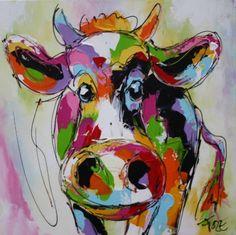 schilderij koe kleurrijk vrolijk modern