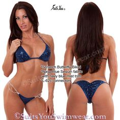 Just added a NEW Navy Blue Sequin butterfly bikini, more colors coming soon! Model Melissa Allen