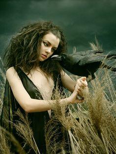Maiden and raven bird, the raven, the crow, fantasy witch, fairi, goddess
