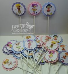 Cupcake toppers made with free pattern here (thank you Sarah): http://debbiesdesignsblog.blogspot.com/2013/03/kaitlynns-5th-birthday-party.html  Layered with Stampin' Up! punches by Debbie Henderson, Debbie's Designs.