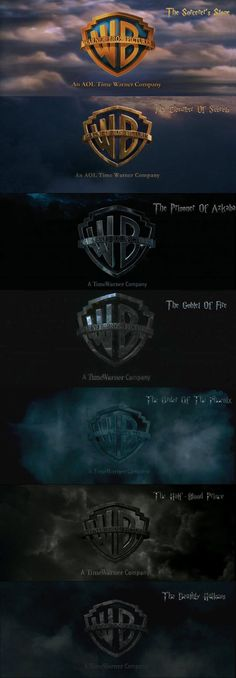 Evolution of the Warner Bros logo from the first Harry Potter to the last-  Never noticed this until I saw this pic, J.K Rowling is a amazing story teller.