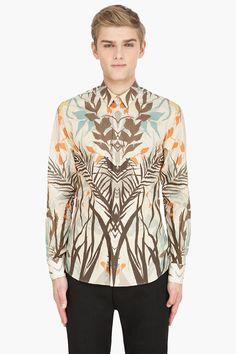 ALEXANDER MCQUEEN beige Palm Print Cotton Shirt