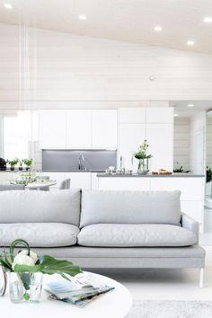 couch, white grey interior, white interiors, loung, white kitchens, kitchen sofa