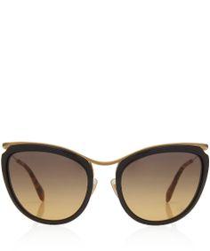 Miu Miu Black Cat Eye Metal and Acetate Sunglasses | Women's Sunglasses by Miu Miu | Liberty.co.uk