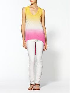lovin' this top paired with white jeans!  Young, Fabulous & Broke James Top | Piperlime