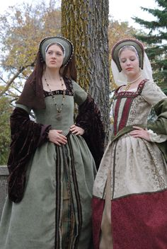 Renaissance Boleyn Court Tudor dress costume with 6 pieces in green and brown. $495.00, via Etsy...I need to learn how to sew...I would make my own clothes!