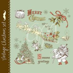 Christmas vintage clip art hand drawn elements by GraphicMarket, $4.99