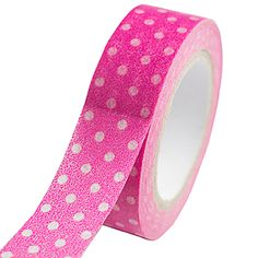 Add a splash of color to your craft projects with Pink Swiss Dot Washi Tape! Pink Polka Dot Washi Tape is made of paper and each roll is 12 yards long. #Ballerina