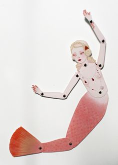 Mermaid paper doll by Wool and Water @Connie Hamon Hamon Bonnie Perkins, another idea for mermaid dolls.