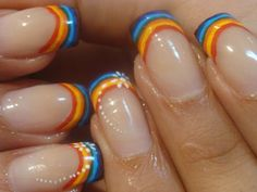 Rainbow French tips nail polish art