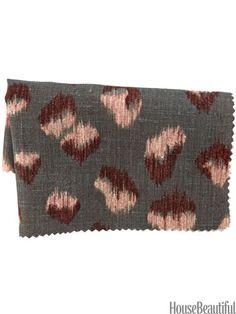 Feline by Kelly Wearstler for Groundworks from leejofa.com. housebeautiful.com. #feline #cheetah #animal_print #ikat #fabric