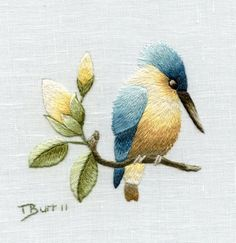 Embroidery Kit  Azure Kingfisher by TRISHBURREMBROIDERY on Etsy, $17.95