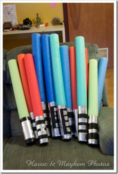 Light Sabers using noodles and duct tape! Great for a little boy's birthday party!...