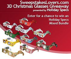Enter the SweepstakesLovers.com 3D Christmas Glasses Giveaway presented by Holiday Specs for a chance to win an Holiday Specs Mixed Bundle !  Enter at http://www.sweepstakeslovers.com/our-giveaways/sweepstakeslovers-com-3d-christmas-glasses-giveaway-presented-by-holiday-specs/