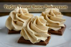 Peanut Butter Buttercream. Creamy, light, fluffy, not too sweet, and full of peanut butter flavor.