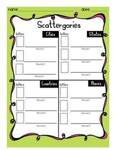 FREE Scattergories: Creative Thinking Game for Classroom Fun. 50+ pages and over 25 categories included for the game. This games is based on Scattergories by Hasbro. Packet Includes: Directions, Game Rules, Answer Sheet Examples, Scattergories (3 Levels – More Challenging, Challenging and Less Challenging), Ink Friendly Scattergories (3 Levels) and Blank Scattergories